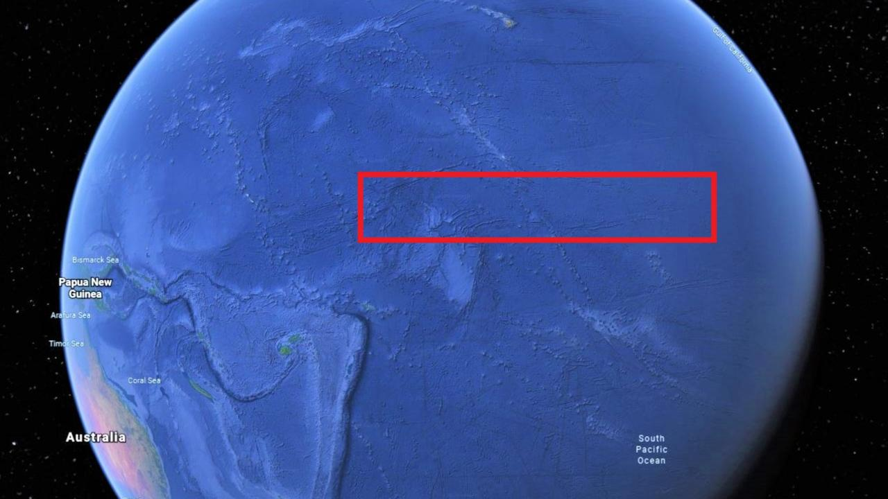 Nino 3.4 – the Pacific Ocean patch that is vital to El Nino and La Nina forecasts. Picture: Google Maps.