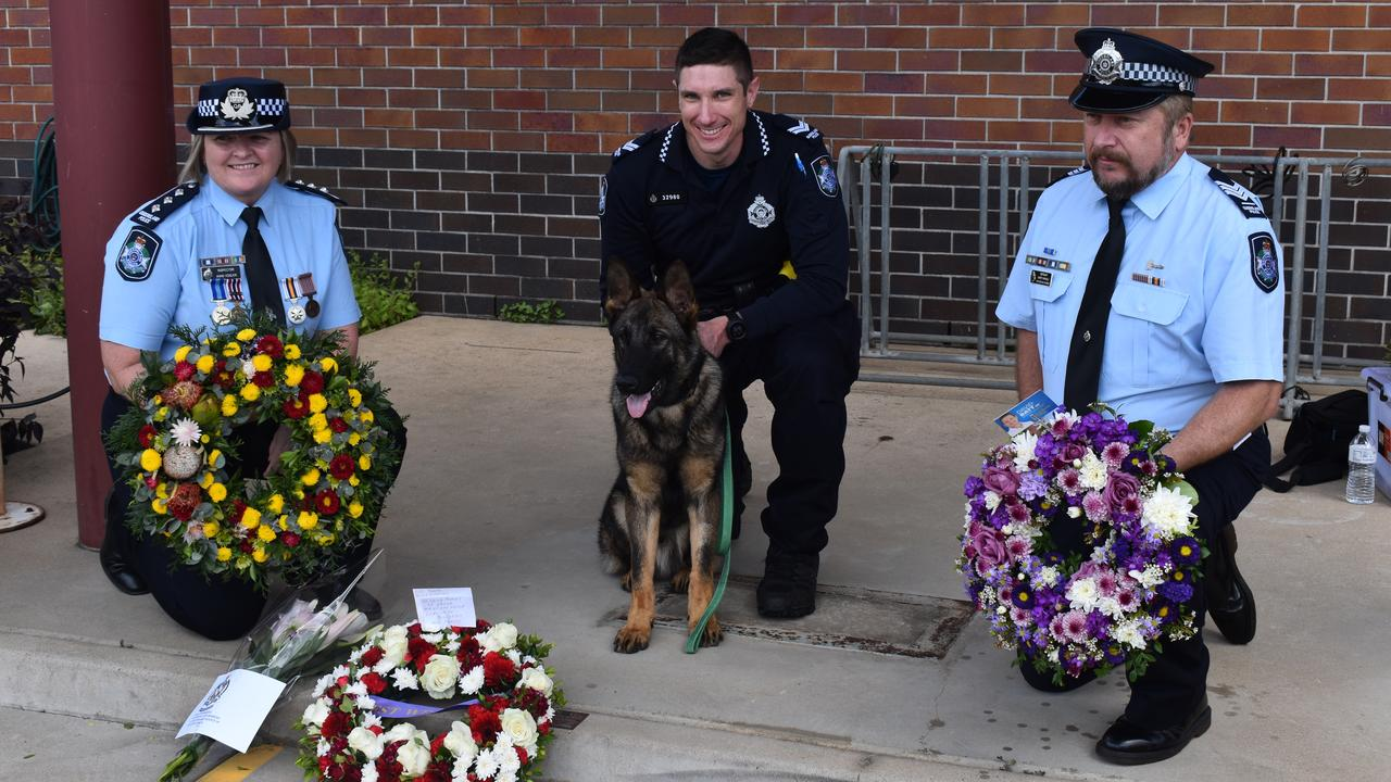 SPECIAL TRIBUTE: Inspector Anne Vogler, Senior Constable Luke Giese, police dog Uzi and Sergeant Marty Arnold. Picture: Rhylea Millar.