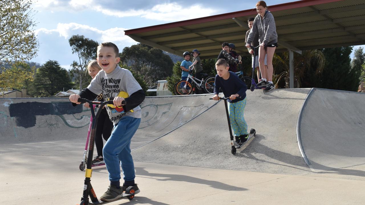 SKATE ON: Cooper Robertson is all smiles as he skates down the skatebowl.