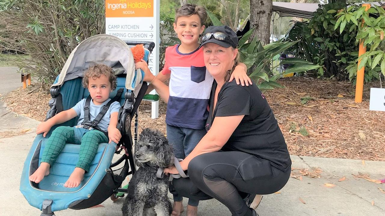 Dog heaven is on holidays for Hunter, Aris and mum Kristy Francois with their furry family member Dusty.