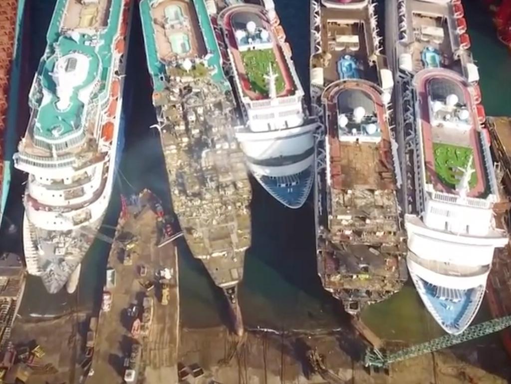The cruise ship graveyard in Aliaga, Turkey. Picture: 7 News