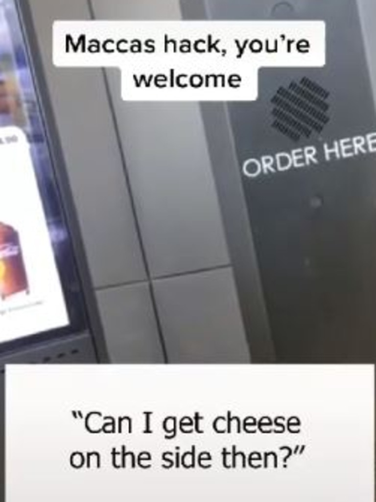 So instead he got a slice of cheese on the side. Picture: TikTok/joshgarlepp