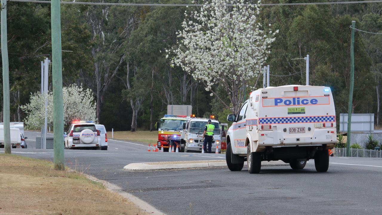 Police on scene at a serious rollover on Henry St/Burnett Hwy Nanango, September 19, 2020.