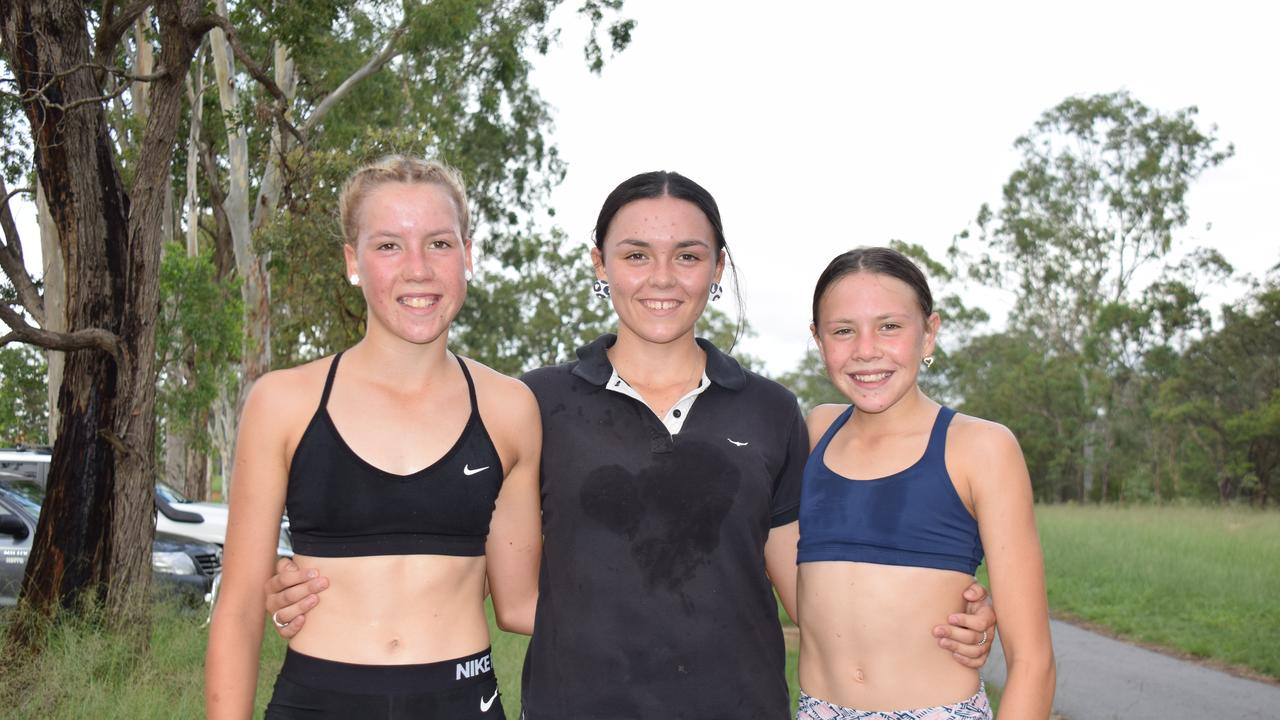 Mackenzie, Sophie and Olivia Grundy after flying home at the Nanango Park Run. (Picture: Tristan Evert.