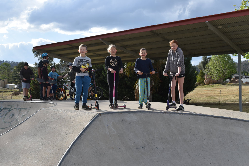 Image for sale: Cooper, Savannah and Jayce Robertson, and Jessie James would are excited for more facilities at the Stanthorpe skatepark.