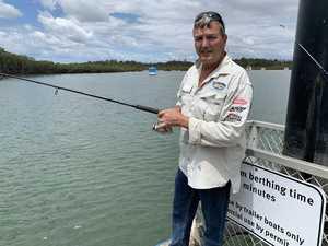 """Brett Lye fishing off the Tuan pontoon. Photo:"
