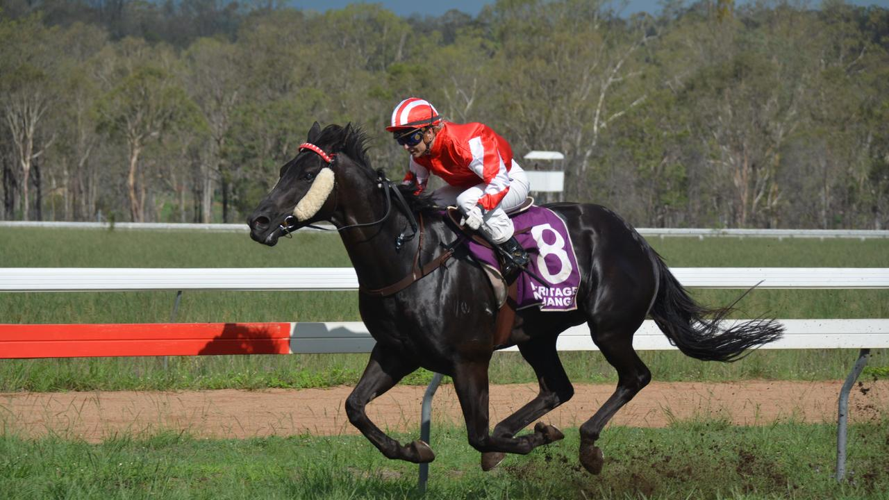 Hannah English on Black Envy gains a strong lead during race five at the Nanango Races on February 15. (Photo: Jessica McGrath).