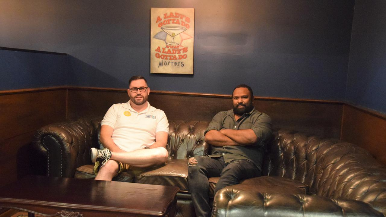 Jamie Boon and Jeremy Marou in the new Speakeasy whiskey bar style private lounge at The Goat Cafe and Bar.