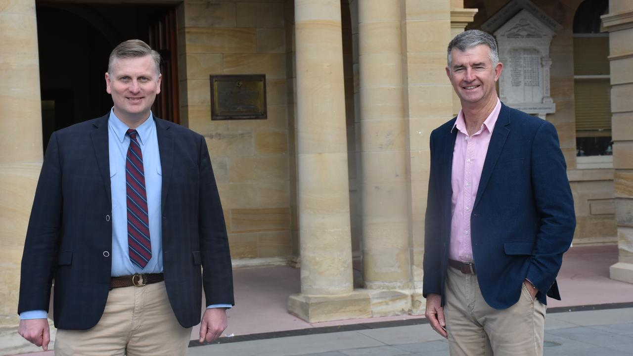 Member for Southern Downs James Lister and LNP Deputy Leader Tim Mander in front of Warwick Town Hall. Picture: Jessica Paul