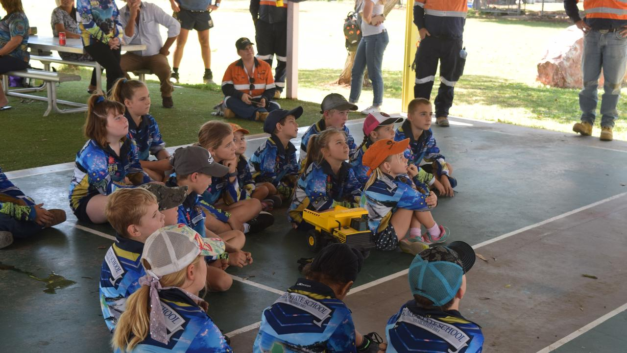 Students from Gumlu State School listened as Johnathan Thurston passed on advice on how to be good leaders and build resilience. Picture: Laura Thomas