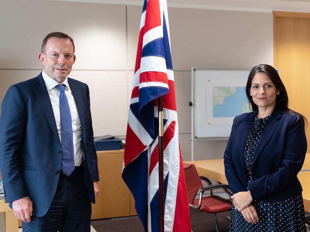 Tony Abbott and British Home Secretary Priti Patel. Photo: Twitter / @pritipatel