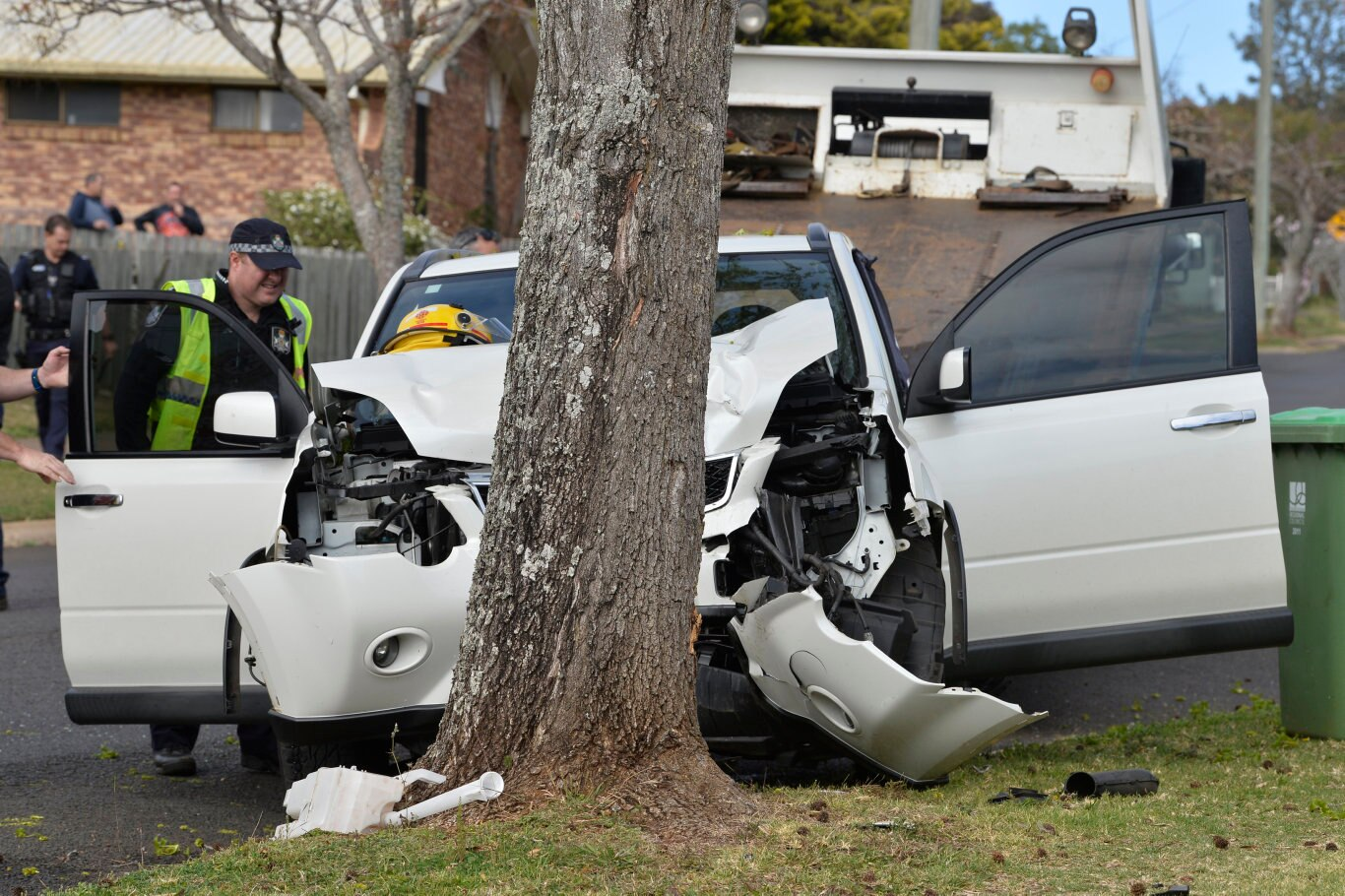 Emergency services at the scene where a woman, aged in her 30s, was injured after she crashed her car into a tree in Wine Drive, Tuesday, September 8, 2020. Picture: Kevin Farmer