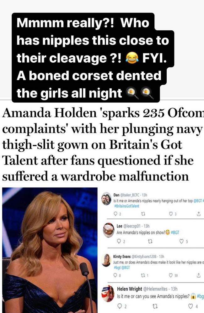 Amanda Holden responds to the uproar.