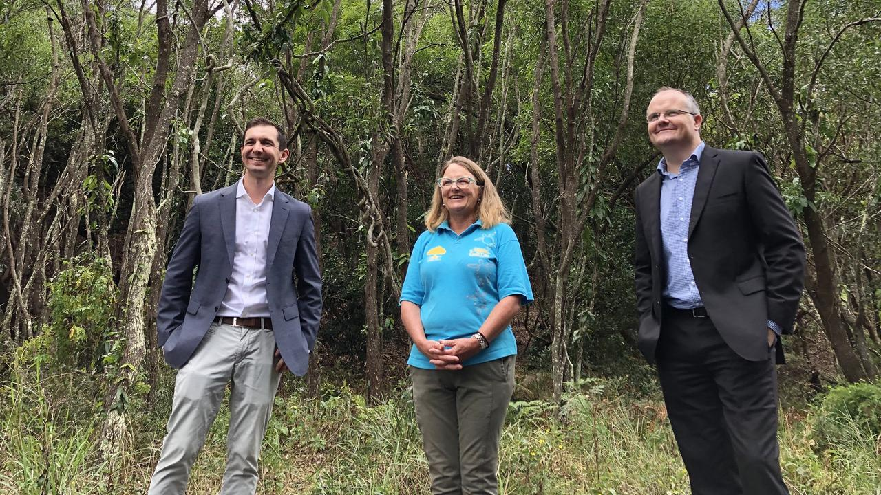 Assistant Minister for Waste Reduction and Environmental Management Trevor Evans and Fairfax MP Ted O'Brien announced a $20,000 Federal Government's Communities Environment Program grant for Coolum and North Shore Coast Care president Leigh Warneminde (middle). Picture: Lacee Froeschl