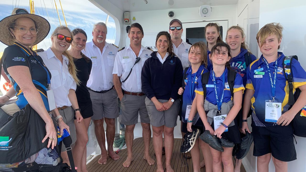 CLASSROOM CONSERVATION: Reef Guardian School Kalkie State School year six students applied their virtual reef learnings out on the ocean with the team from the Lady Musgrave Experience.