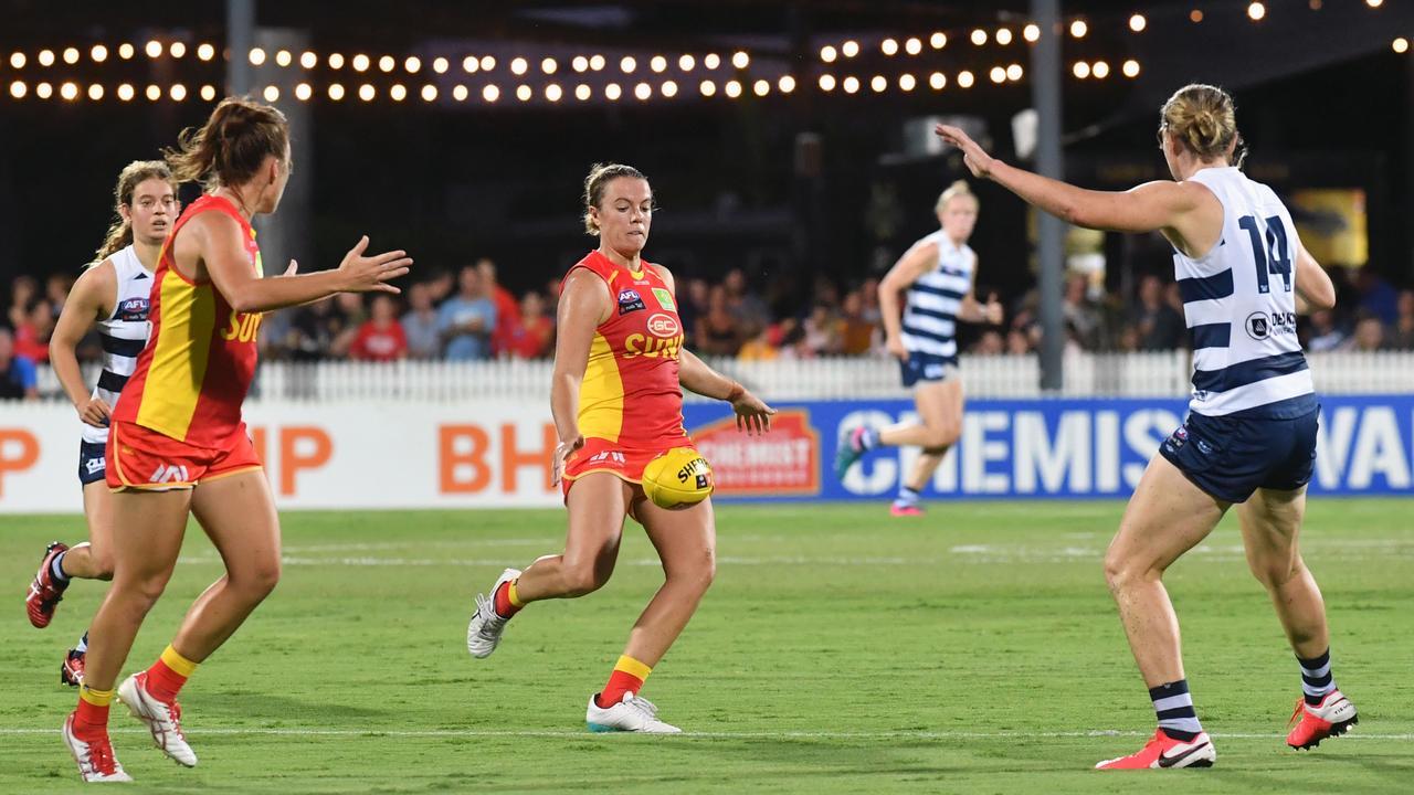 Gold Coast Suns player Molly Ritson kicks the ball down field against Geelong at Harrup Park.