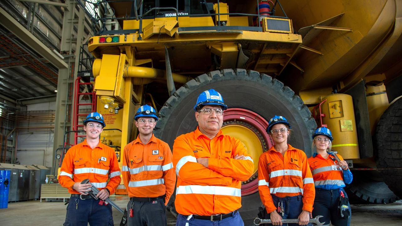 BHP President Minerals Australia Edgar Basto (centre) with apprentices (L-R) Max Napper Tom Kase, Catherine Mosie and Milena Andrejic at BHP's Blackwater mine in Central Queensland. Picture: Daryl Wright