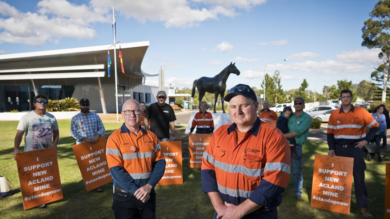 New Hope COO Andrew Boyd (left) and wash plant manager Andy Scouller call for New Acland stage three to be approved, earlier this year in June. Picture: Kevin Farmer