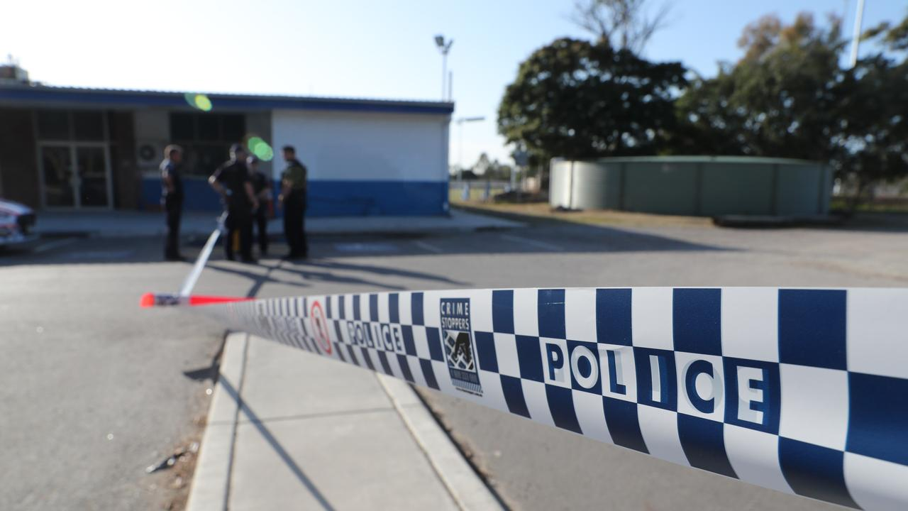 Police at the scene of the alleged murder at Zillmere. Picture: Peter Wallis
