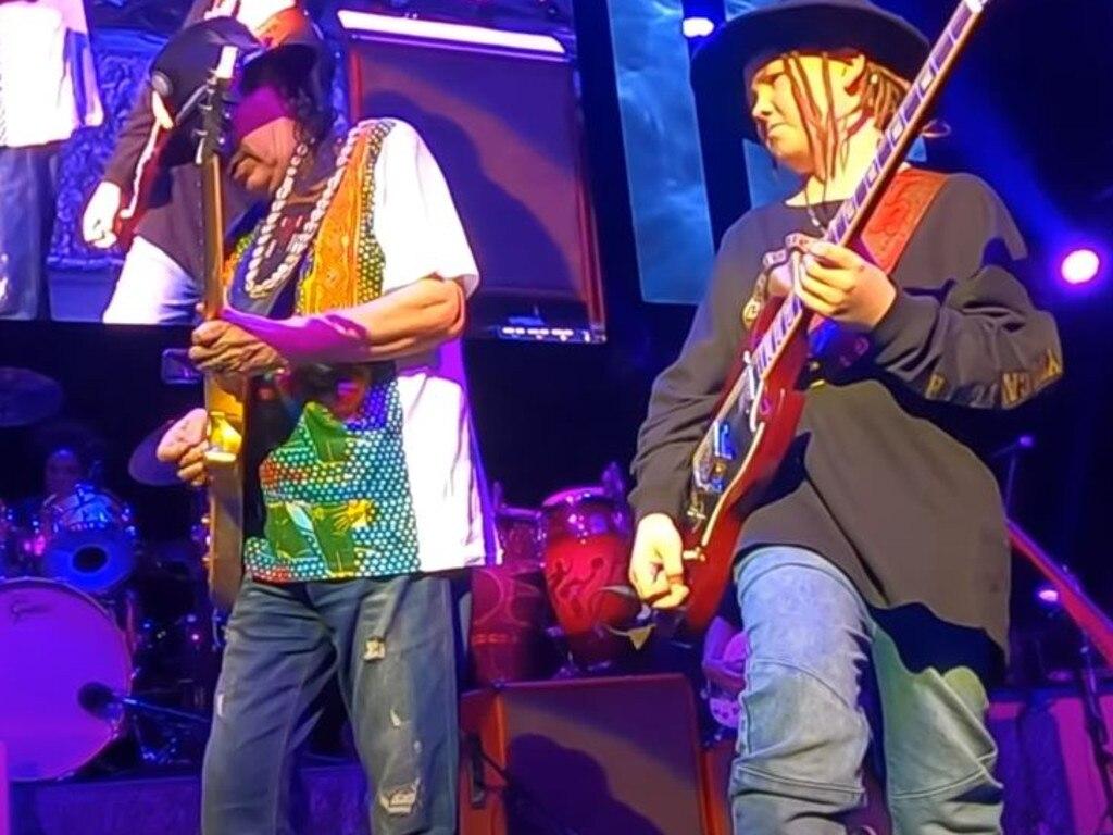 Taj Farrant plays alongside music legend Carlos Santana at the House of Blues, at Mandalay Bay Hotel, Las Vegas. Picture: YouTube
