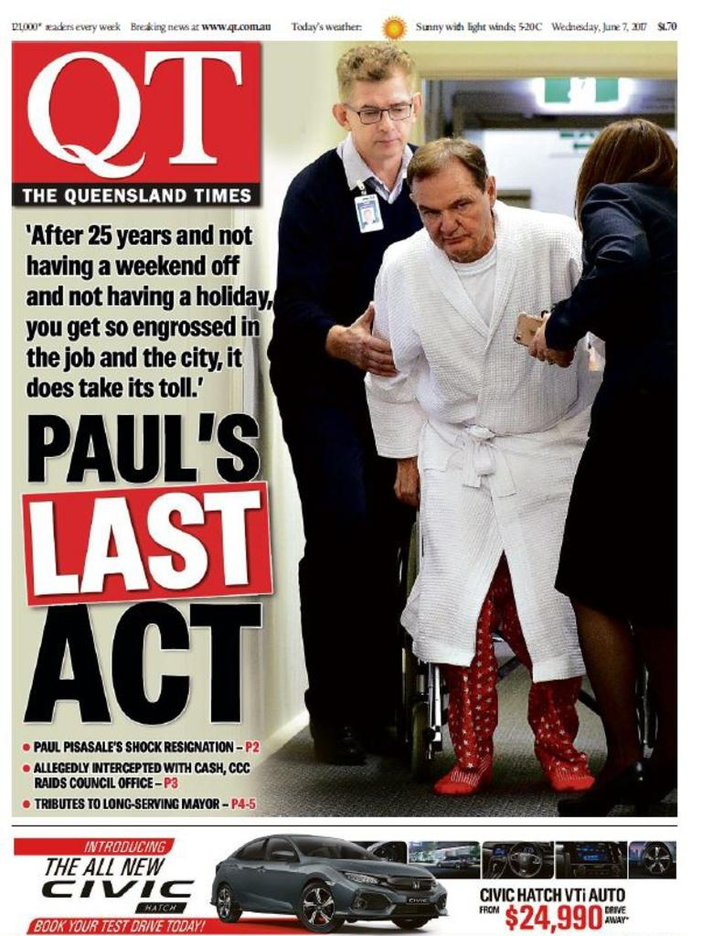 The front page of the QT the day after ex-Mayor Paul Pisasale resigned in 2017.