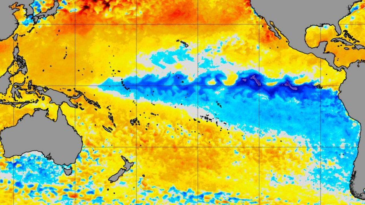 A visualisation of the cooler waters in the Pacific which are a distinctive element of a La Nina. Picture: NOAA.