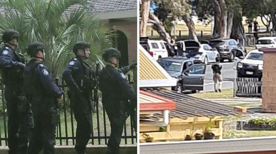 The heavily armed police presence on Bribie Island. Photo: Supplied