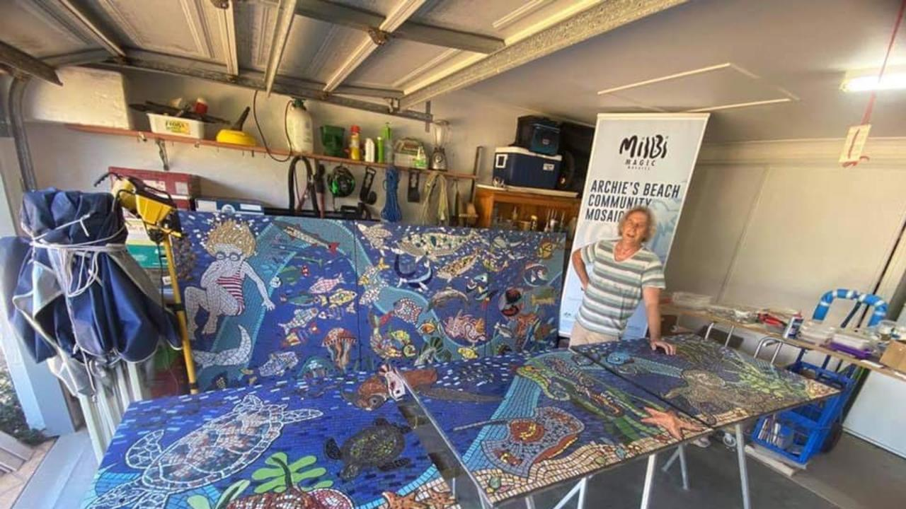 MILBI MAGIC: Paul Perry is currently in the process of finalising his Milbi Magic community project, which will feature a 31m long mosaic panel that Bundaberg Regional Council will install at Archie's Beach next month.