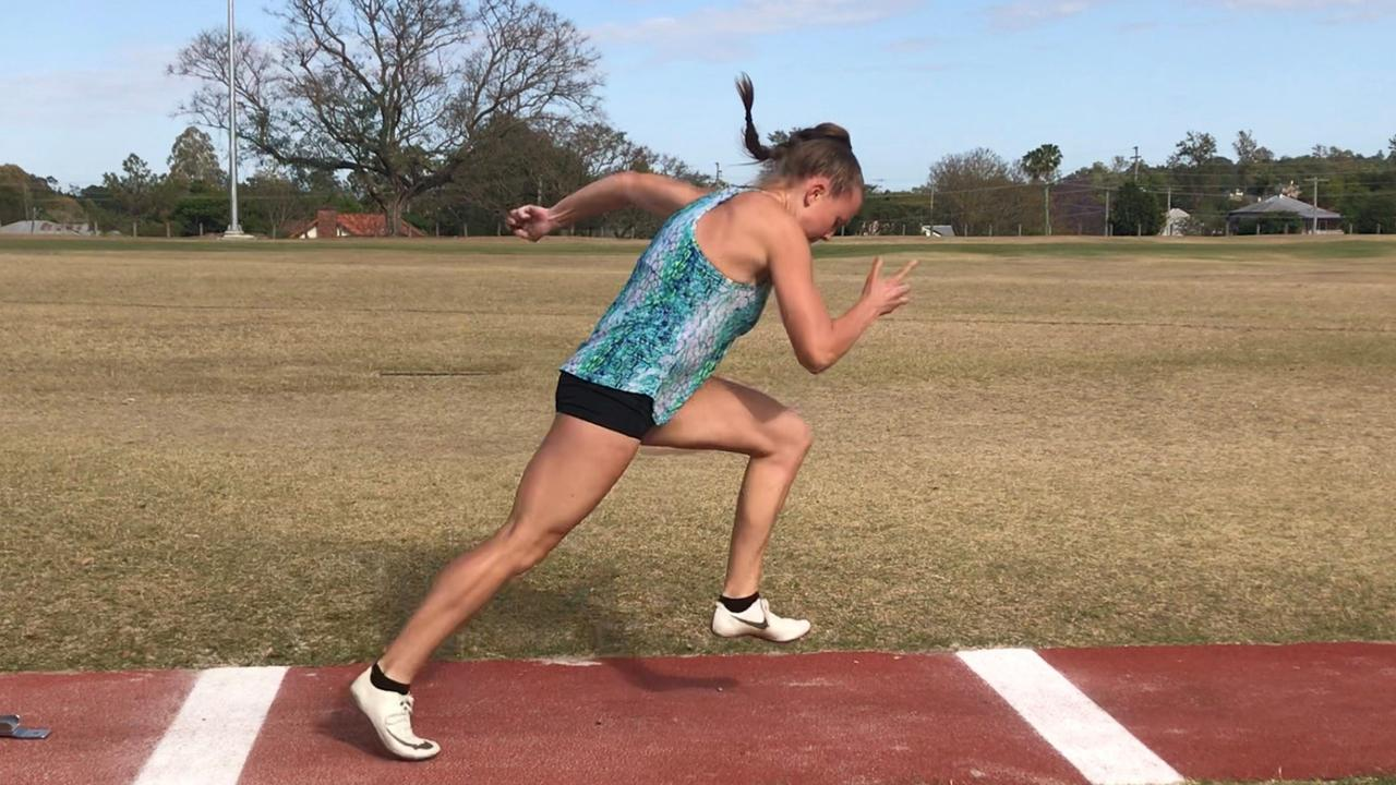 Ipswich and District Athletic Club sprinter Ashlee Stieler works on her starts before heading to Mackay. Picture: Vic Pascoe