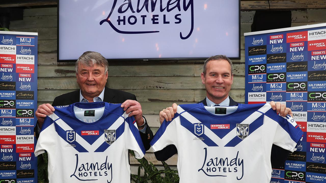 Canterbury Bulldogs sponsor launch with chief executive Andrew Hill at the Twin Willows Hotel, Bass Hill. Andrew holds the new Bulldogs jersey with Laundy Hotels owner Arthur Laundy. Picture: Brett Costello