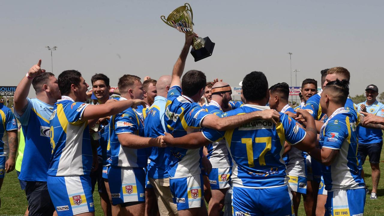 Souths Sharks reserve grade side celebrate their grand final win against Wests Tigers last season. Photo: Callum Dick