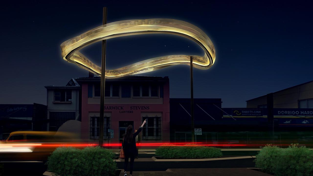 The Water Cloud sculpture, which has been approved by Councillors for the main street of Dorrigo, will be lit up at night.