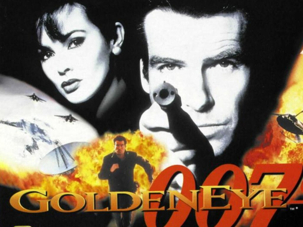 Pierce Brosnan in a poster for his first Bond film, 'GoldenEye'.