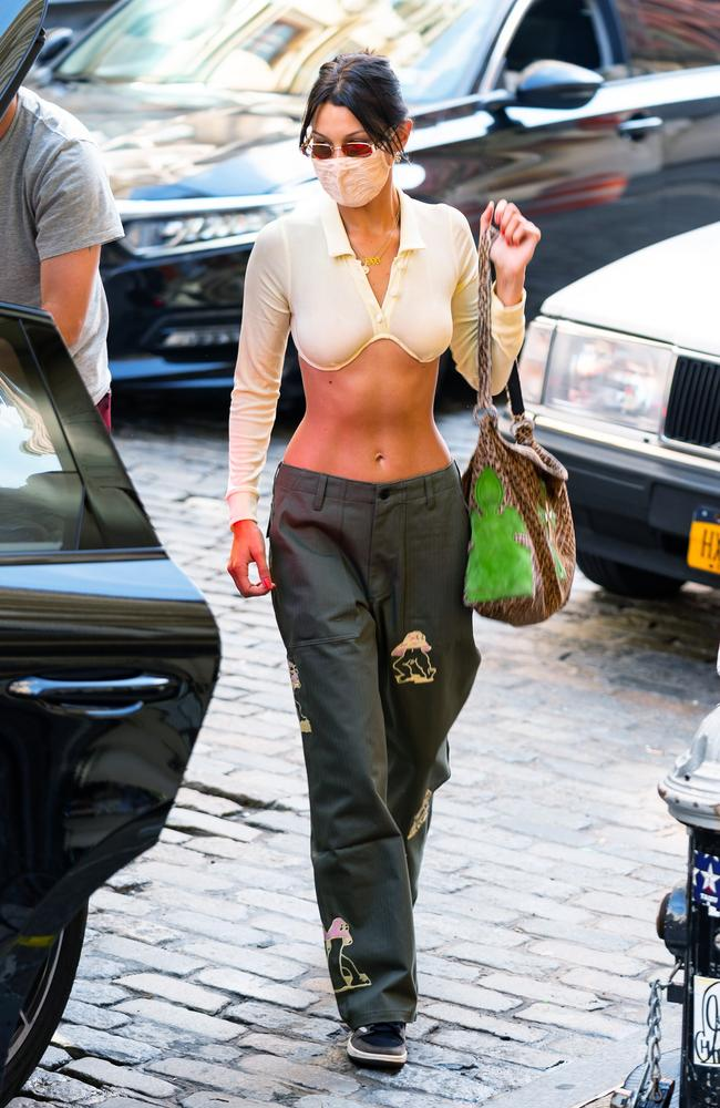 Bella Hadid was seen wearing the $455 sheer top earlier this year. Picture: TheImageDirect.com