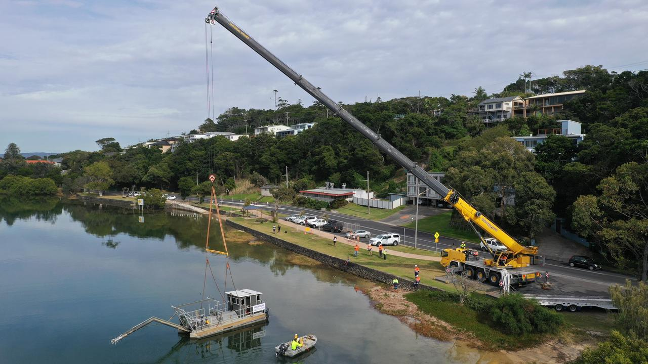 Shaws Bay at East Ballina is being dredged.