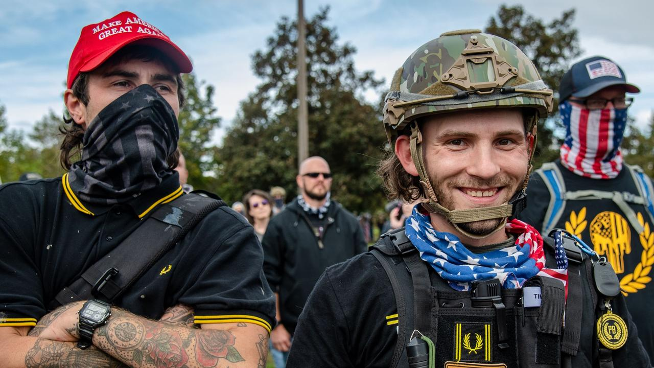 Proud Boys gather for a rally at Delta Park Vanport on September 26 in Portland, Oregon. Picture: Amy Harris/Shutterstock