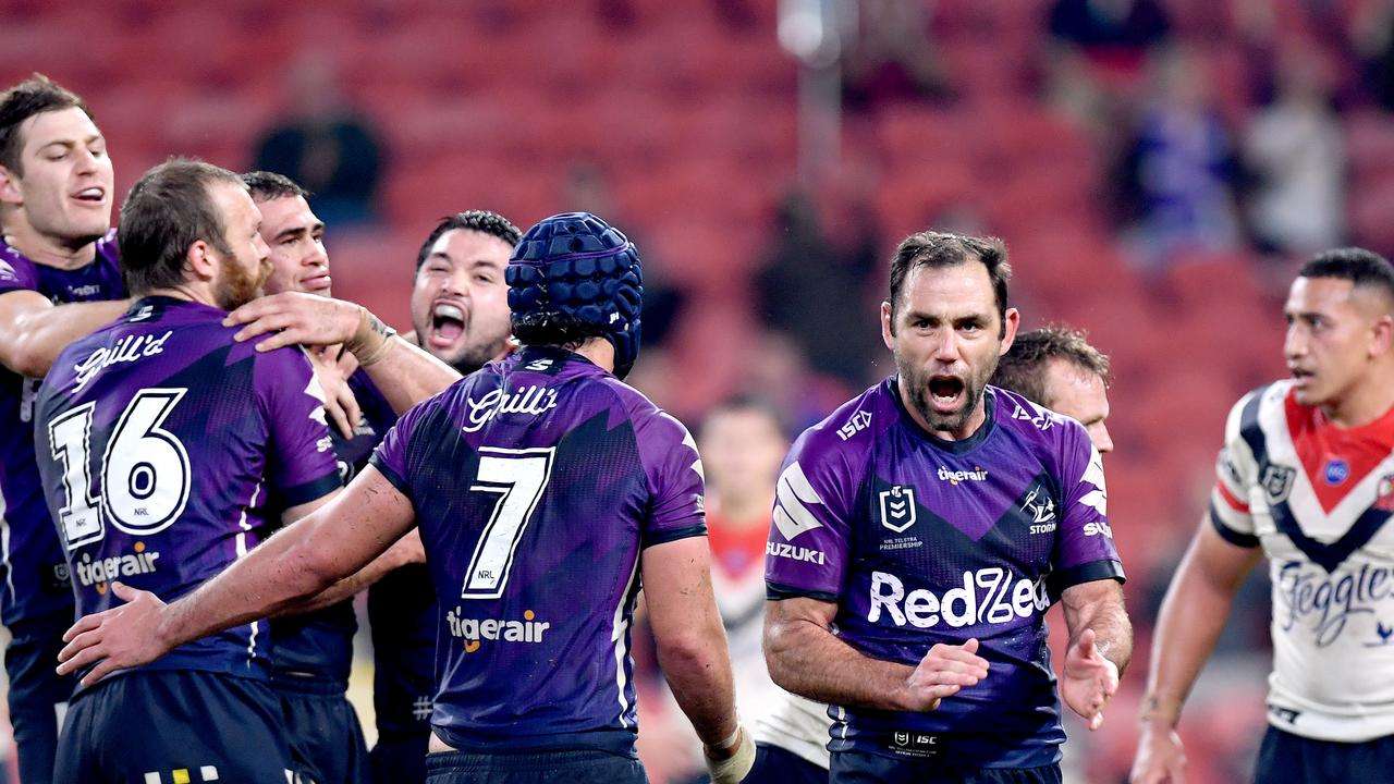 Melbourne Storm will take on Parramatta at Suncorp Stadium on Saturday. Picture: Bradley Kanaris/Getty Images