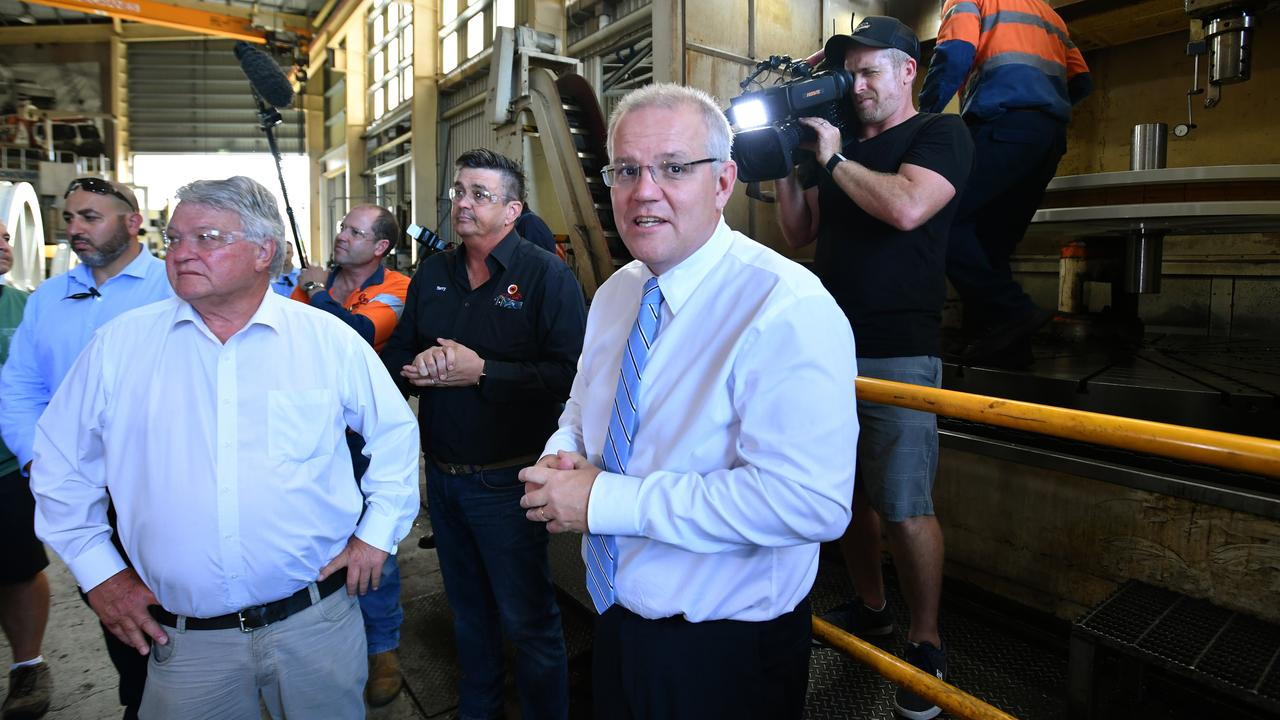Prime Minister Scott Morrison and Nationals member for Flynn Ken O'Dowd during a visit to Gladstone.