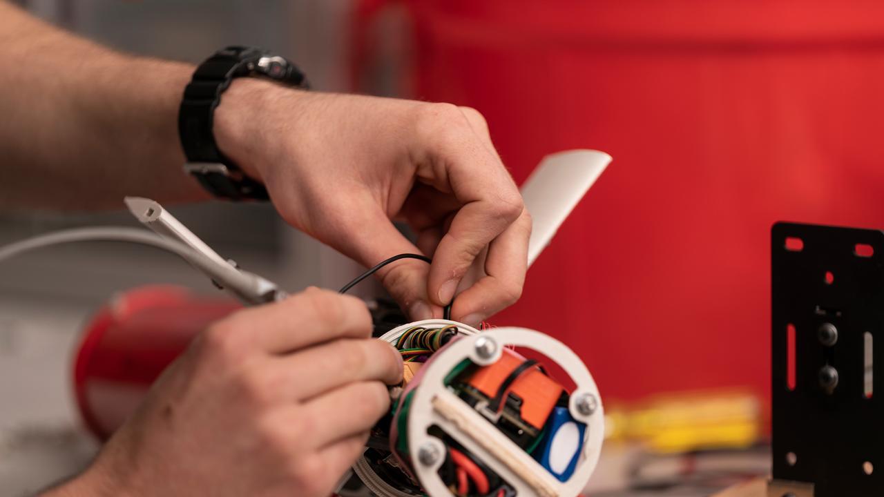 ANU water glider prototype. Picture: Jamie Kidston/ANU.