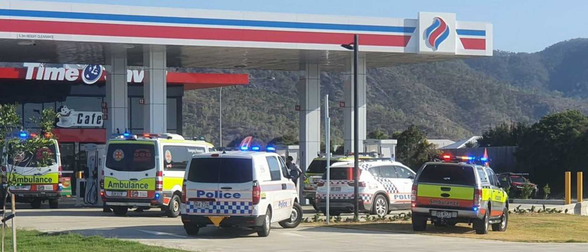 A man has died at a  service station despite the best efforts of civilians and emergency services trying to revive him.