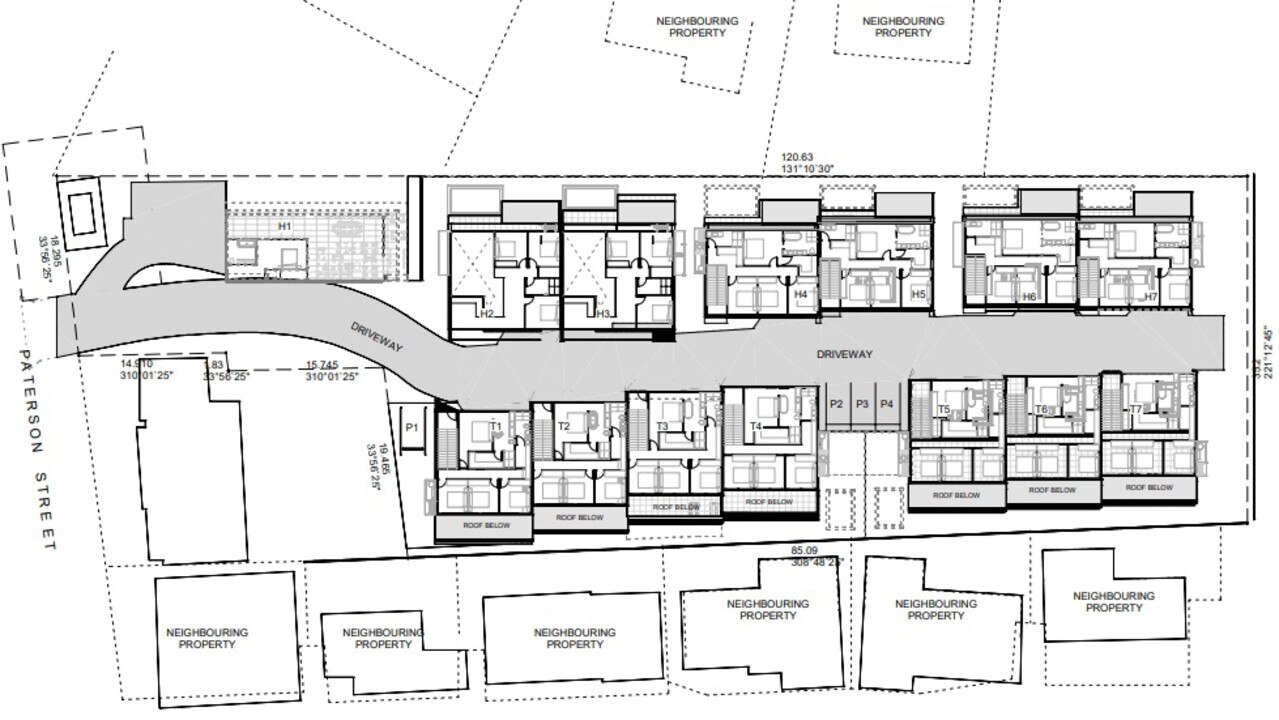 Plans of the proposed townhouse development.