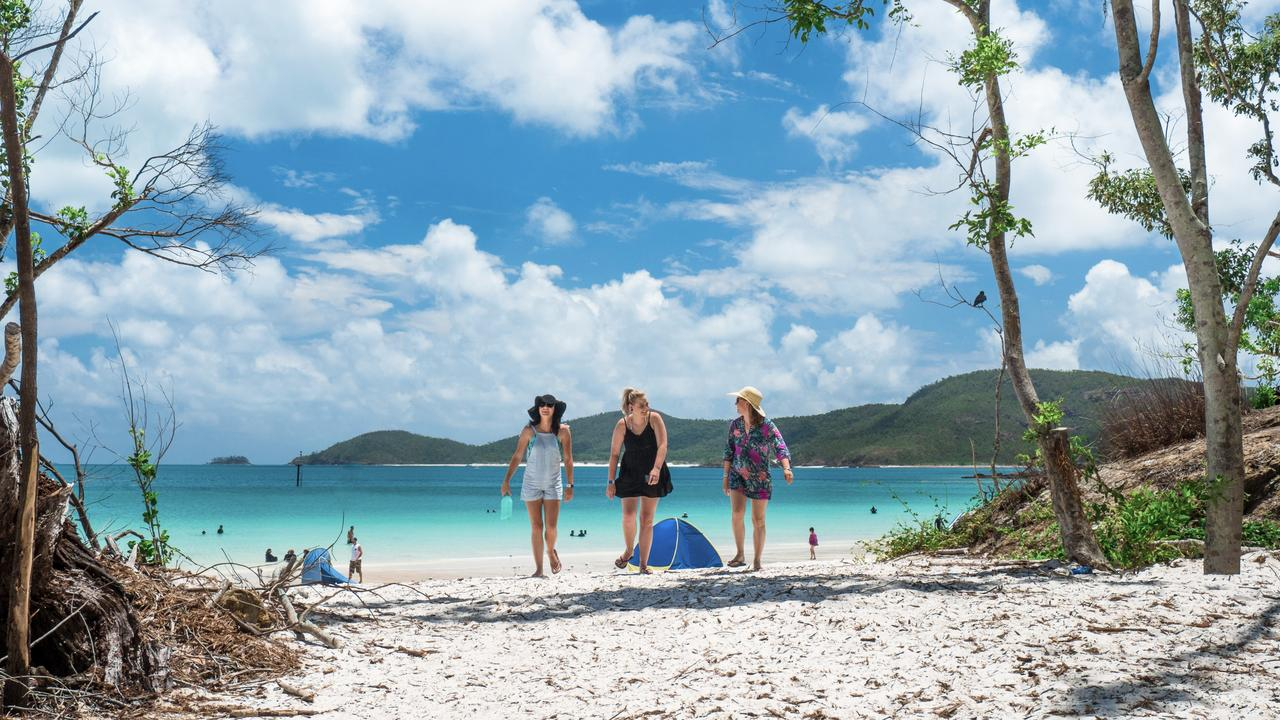 A new Schoolies tour takes in six islands in six days, including a trip to Whitehaven Beach. Picture: TEQ