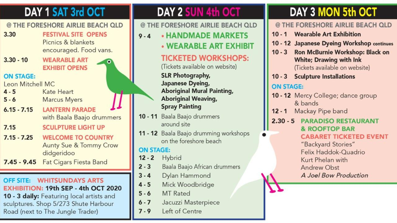 The inaugural Whitsundays Arts Festival kicks off on Saturday with a packed three day calendar full of creativity. Picture: Supplied