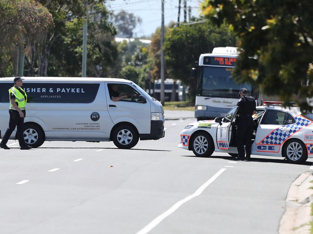 Police at an active crime scene on Thursday at Bribie Island. Pic Peter Wallis