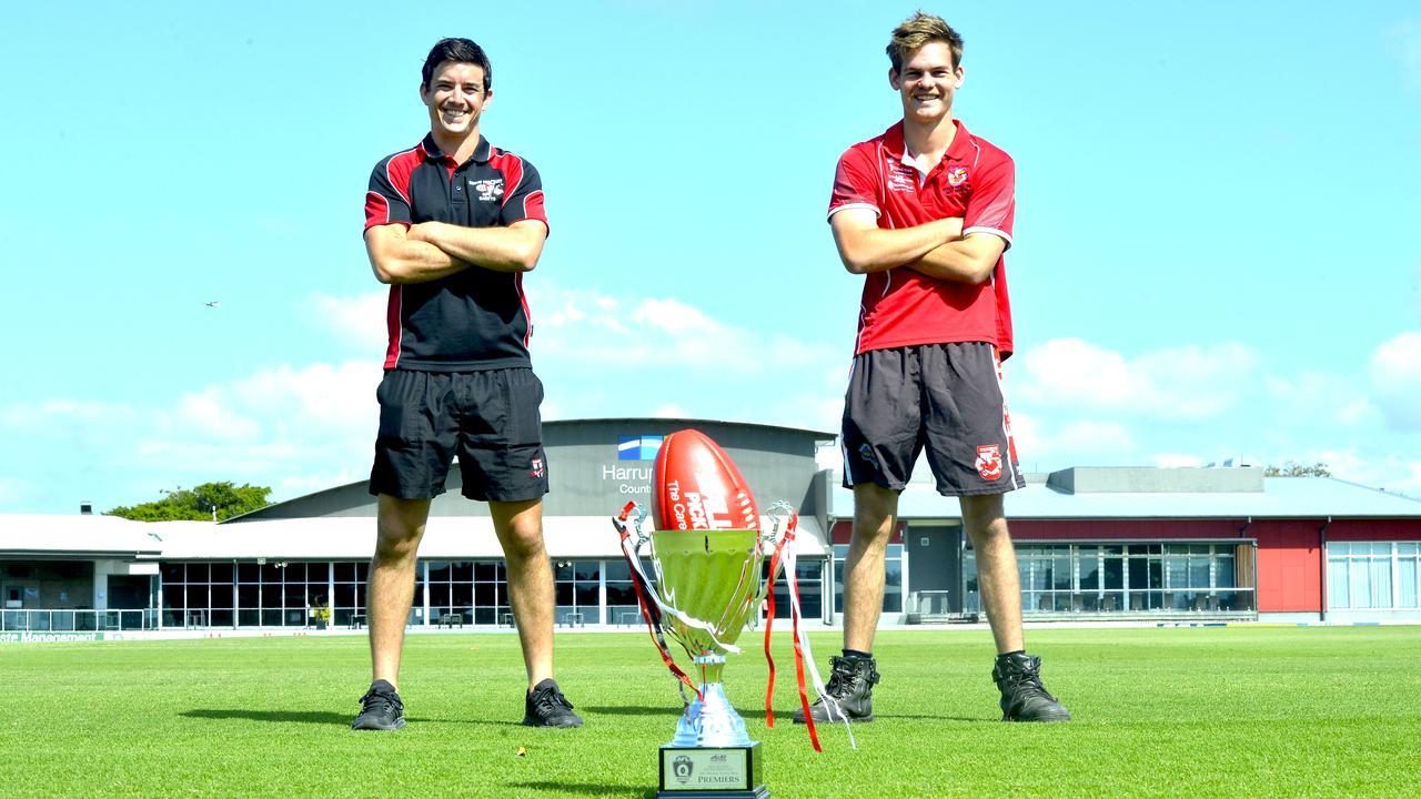 AFL Mackay 2020 A-Grade grand final: North Mackay Saints captain Steven Pugh (left) and Eastern Swans captain Lachlan Clarke. Photo: Callum Dick