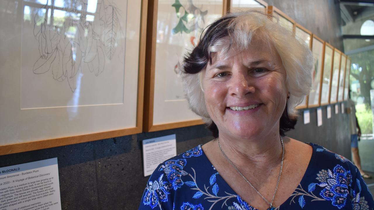 Glenella artist Sharee McDonald at the Mackay Botanical Art Interest Group exhibition at the Botanic Gardens Cafe. Picture: Zizi Averill
