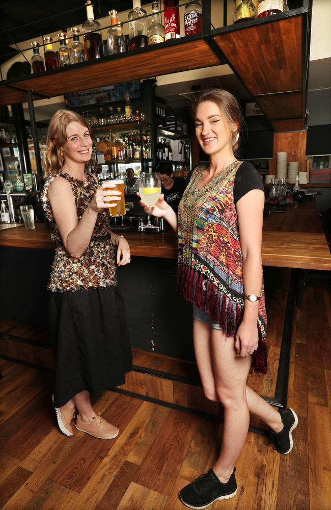 Margaret Van Lit and Olivia Hipwell enjoy standing up at the bar at Proof in Windsor following the easing of Covid restrictions in Queensland. Picture: Annette Dew