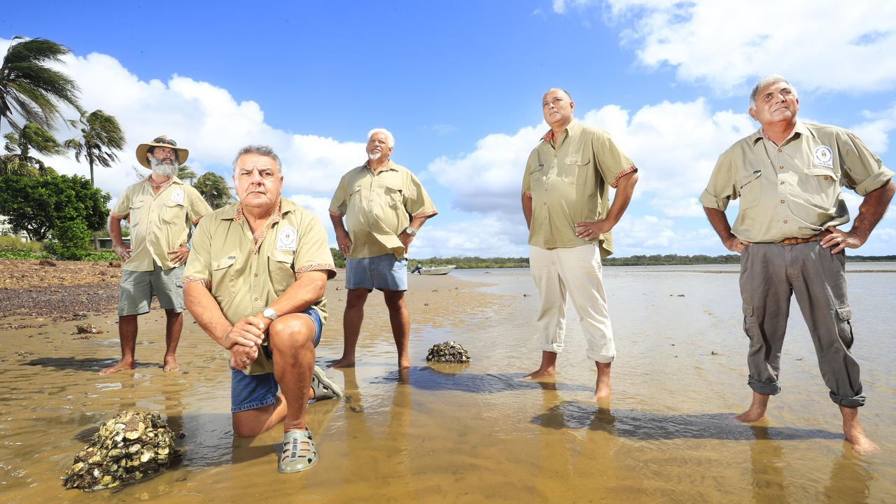 Butchulla Men's Business Aboriginal Association President Glen Miller with members Darren Blake, Eddie Jackson, Rod MacDonald and Mark Singho are protecting traditional hunting laws in their native country in the Great Sandy Strait and Fraser Island. Photo Lachie Millard