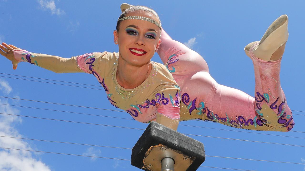 Hand balancer Ebony Marklewfine tunes her act. Picture Glenn Hampson