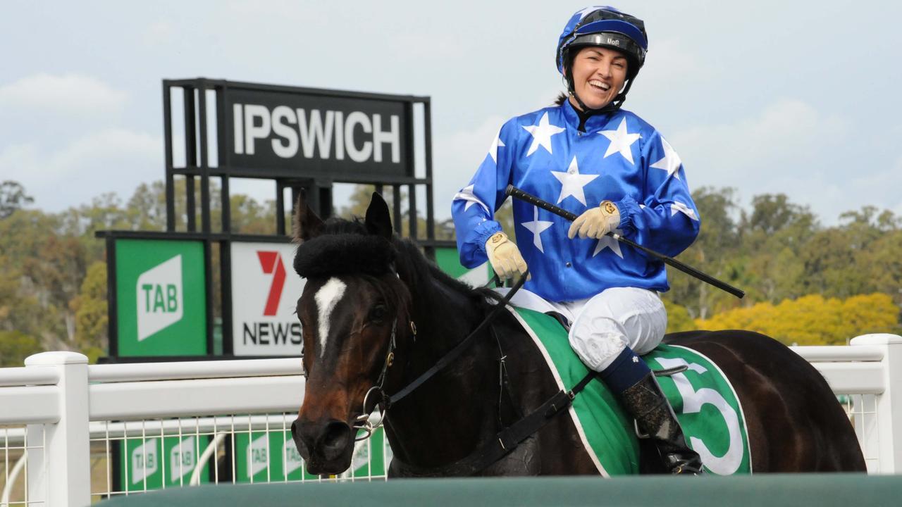 Winning jockey Tegan Harrison at Ipswich racetrack. Picture: Claire Power
